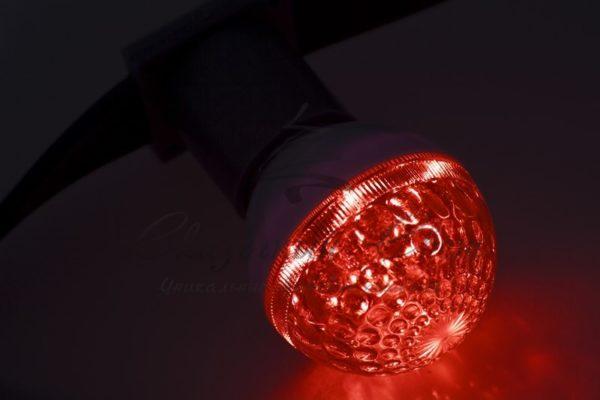 Лампа шар e27 10 LED  Ø50мм  красная 24В 3