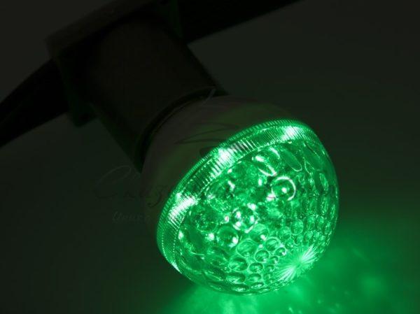 Лампа шар e27 10 LED  Ø50мм  зеленая 24В