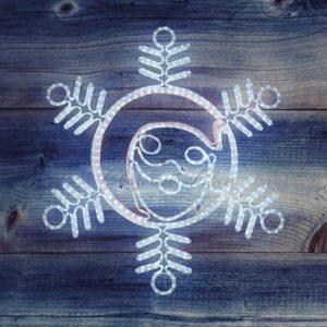 Фигура «Снежинка с Дедом Морозом» размер 107*95см, 14м дюралайт  NEON-NIGHT