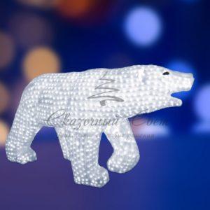 Акриловая светодиодная фигура «Белый медведь» 100х175см, 1976 светодиодов, IP 65, понижающий трансформатор в комплекте, NEON-NIGHT