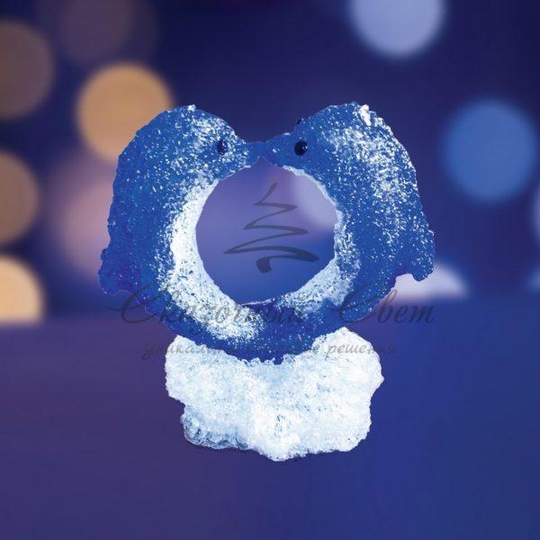 """Акриловая светодиодная фигура """"Романтичные дельфины"""" 30х25х35 см, 128 светодиодов, IP44 понижающий трансформатор в комплекте, NEON-NIGHT"""