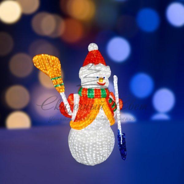 """Акриловая светодиодная фигура """"Снеговик с лопатой и метлой"""" 160см, 1840 светодиодов, IP 65, понижающий трансформатор в комплекте, NEON-NIGHT 3"""
