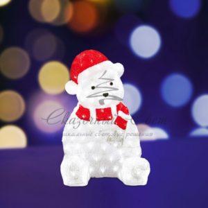 Акриловая светодиодная фигура «Медвежонок в красном колпаке» 56 см, 200 светодиодов, IP 44, понижающий трансформатор в комплекте, NEON-NIGHT
