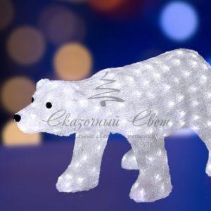 Акриловая светодиодная фигура «Белый медведь», 81х41х45 см, 270 светодиодов белого цвета, IP 44, понижающий трансформатор в комплекте, NEON-NIGHT