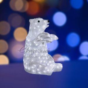 """Акриловая светодиодная фигура """"Белый медведь"""" 36х41х53 см, 200 светодиодов, IP44, понижающий трансформатор в комплекте, NEON-NIGHT"""