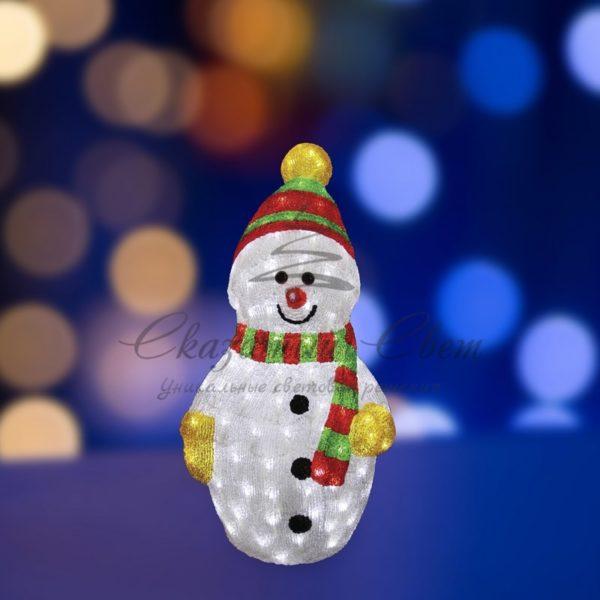 """Акриловая светодиодная фигура """"Снеговик с шарфом"""" 60 см, 200 светодиодов, IP 44, понижающий трансформатор в комплекте, NEON-NIGHT"""