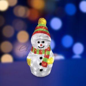 """Акриловая светодиодная фигура """"Снеговик с шарфом"""" 30 см, 40 светодиодов, IP 44, понижающий трансформатор в комплекте, NEON-NIGHT"""