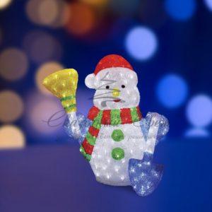 Акриловая светодиодная фигура «Снеговик с метлой и лопатой» 60 см, 260 светодиодов, IP 44, понижающий трансформатор в комплекте, NEON-NIGHT