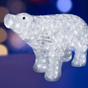 Акриловая светодиодная фигура «Белый медведь» 80*55 см, IP 44, понижающий трансформатор в комплекте, NEON-NIGHT