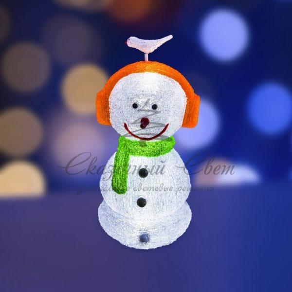 """Акриловая светодиодная фигура """"Снеговик в наушниках"""" 27х27х60 см,16 светодиодов, IP 44, понижающий трансформатор в комплекте, NEON-NIGHT"""