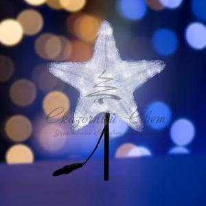 Акриловая светодиодная фигура «Звезда» 50см, 160 светодиодов, белая, NEON-NIGHT