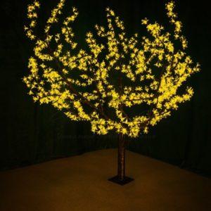 Светодиодное дерево «Сакура» высота 1,5м, диаметр кроны 1,8м, желтые светодиоды, IP 54, понижающий трансформатор в комплекте, NEON-NIGHT