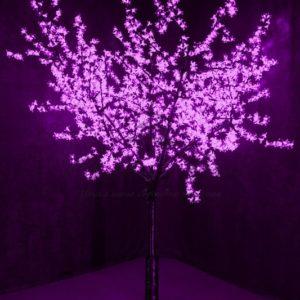 Светодиодное Дерево «Сакура», высота 2,4м, диаметр кроны 2,0м, фиолетовые диоды, IP 64, понижающий трансформатор в комплекте, NEON-NIGHT