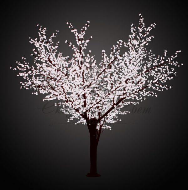 """Светодиодное дерево """"Сакура"""", высота 3,6м, диаметр кроны 3,0м, белые светодиоды, IP 64, понижающий трансформатор в комплекте, NEON-NIGHT 1"""