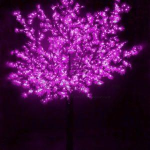 """Светодиодное дерево """"Сакура"""", высота 3,6м, диаметр кроны 3,0м, фиолетовые светодиоды, IP 54, понижающий трансформатор в комплекте, NEON-NIGHT"""