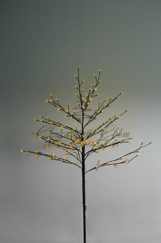 """Дерево комнатное """"Сакура"""", коричневый цвет ствола и веток, высота 1.2 метра, 80 светодиодов желтого цвета, трансформатор IP44  NEON-NIGHT 1"""