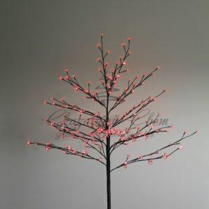 Дерево комнатное «Сакура», коричневый цвет ствола и веток, высота 1.2 метра, 80 светодиодов красного цвета, трансформатор IP44  NEON-NIGHT