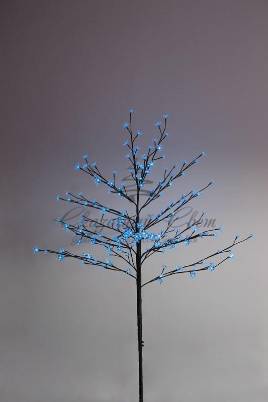 """Дерево комнатное """"Сакура"""", коричневый цвет ствола и веток, высота 1.2 метра, 80 светодиодов синего цвета, трансформатор IP44  NEON-NIGHT"""