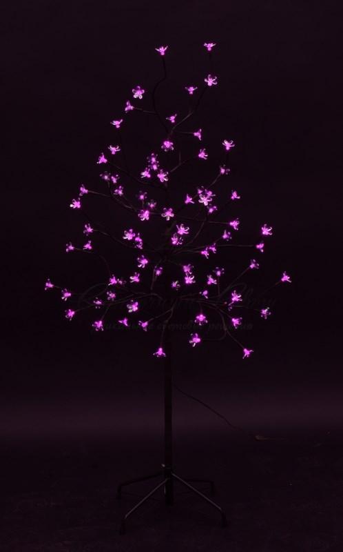"""Дерево комнатное """"Сакура"""", коричневый цвет ствола и веток, высота 1.2 метра, 80 светодиодов розового цвета, трансформатор IP44  NEON-NIGHT 3"""