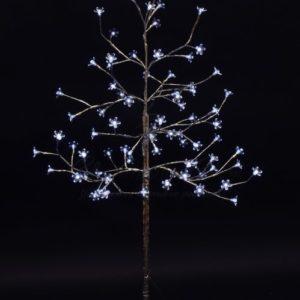 Дерево комнатное «Сакура», ствол и ветки фольга, высота 1.2 метра, 80 светодиодов белого цвета, трансформатор IP44  NEON-NIGHT