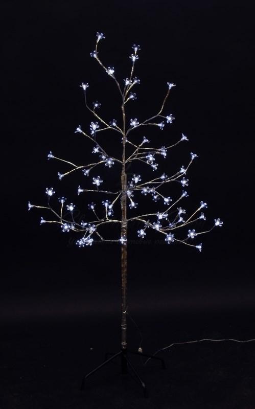 """Дерево комнатное """"Сакура"""", ствол и ветки фольга, высота 1.2 метра, 80 светодиодов белого цвета, трансформатор IP44  NEON-NIGHT 3"""