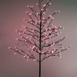Дерево комнатное «Сакура», коричневый цвет ствола и веток, высота 1.5 метра, 120 светодиодов красного цвета, трансформатор IP44  NEON-NIGHT