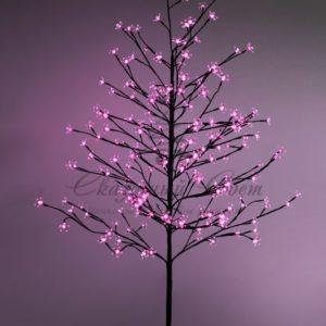 Дерево комнатное «Сакура», коричневый цвет ствола и веток, высота 1.5 метра, 120 светодиодов розового цвета, трансформатор IP44  NEON-NIGHT
