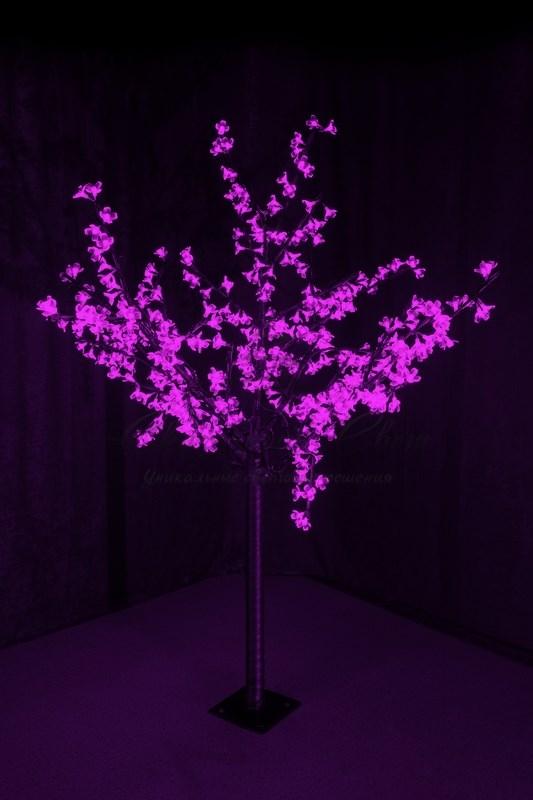 """Светодиодное дерево """"Сакура"""", высота 1,5 м, диаметр кроны 1,3м, фиолетовые диоды, IP 44, понижающий трансформатор в комплекте, NEON-NIGHT 1"""