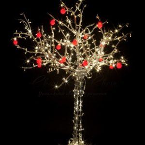Светодиодное дерево «Яблоня», высота 1.2м, 8 красных яблок, тепло-белые светодиоды, IP 54, понижающий трансформатор в комплекте, NEON-NIGHT