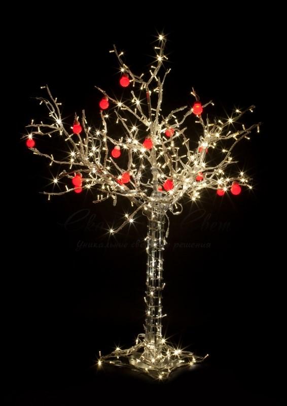 """Светодиодное дерево """"Яблоня"""", высота 1.2м, 8 красных яблок, тепло-белые светодиоды, IP 54, понижающий трансформатор в комплекте, NEON-NIGHT"""