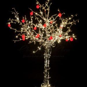 Светодиодное дерево «Яблоня», высота 1.5м, 10 красных яблок, тепло-белые светодиоды, IP 54, понижающий трансформатор в комплекте, NEON-NIGHT