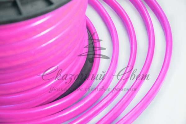 Гибкий Неон LED  - розовый, оболочка розовая, бухта 50м 1