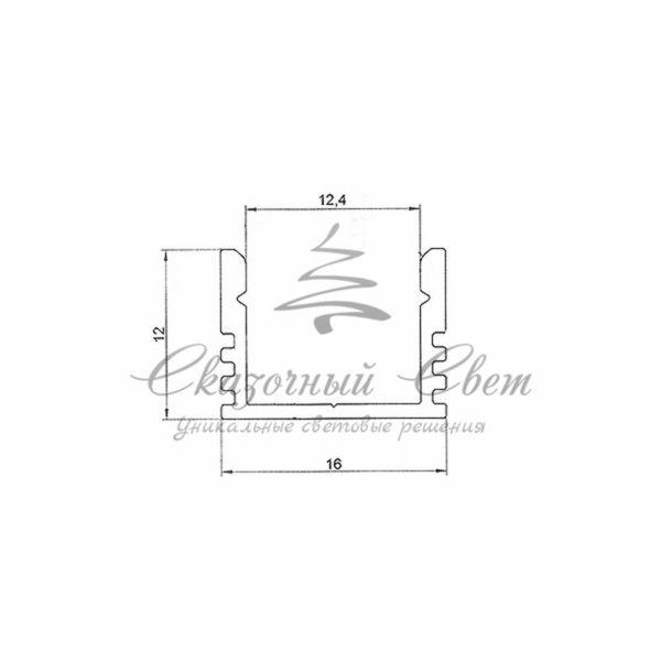 Профиль накладной алюминиевый 1612-2 REXANT, 2м 1