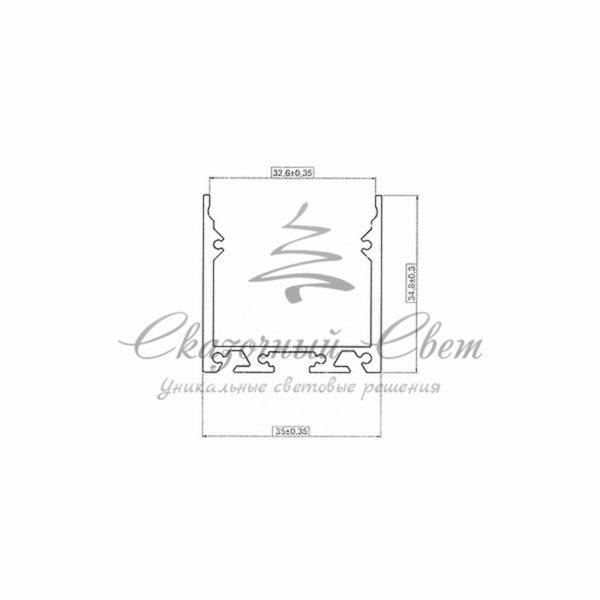 Профиль накладной алюминиевый 3535-2 REXANT, 2м 1