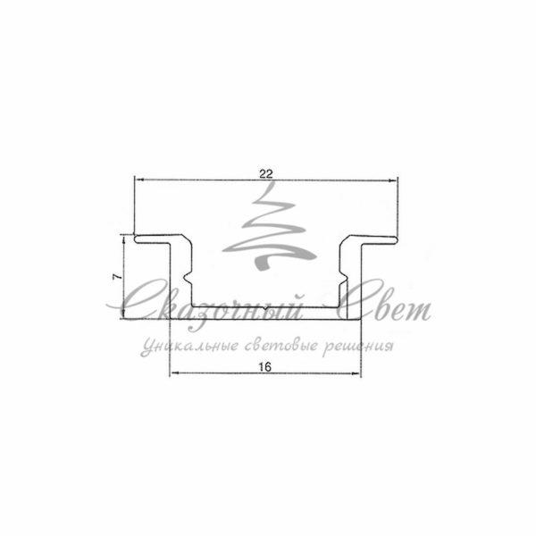Профиль врезной алюминиевый 2207-2 REXANT, 2м 1