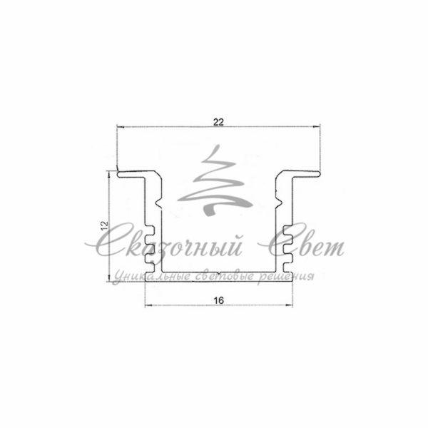 Профиль врезной алюминиевый 2212-2 REXANT, 2м 1