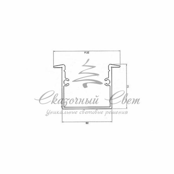 Профиль врезной алюминиевый 3725-2 REXANT, 2м 1