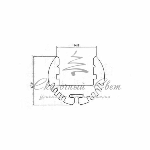 Профиль круглый алюминиевый 17-2 REXANT, 2м 1