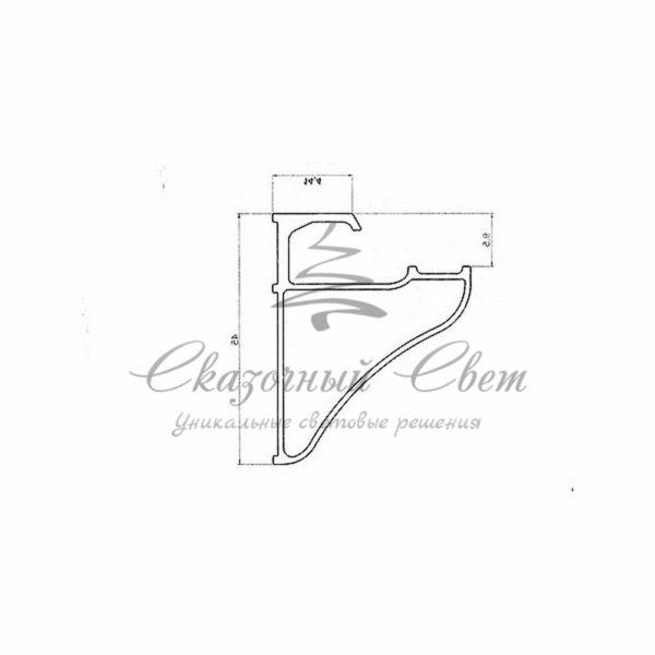 Профиль для полок накладной алюминиевый 3545-2 REXANT, 2м 1