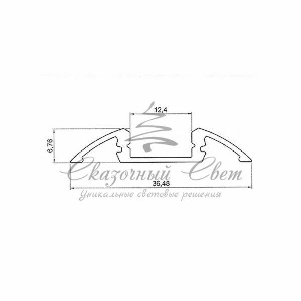 Профиль для порогов алюминиевый 3606-2 REXANT, 2м 1