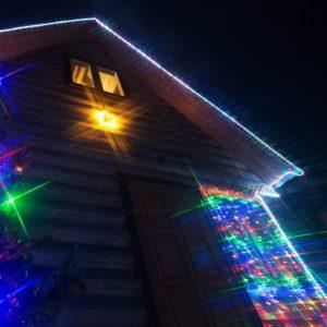 Гирлянда «Сеть» 1х1,5м, черный ПВХ, 160 LED Мультиколор