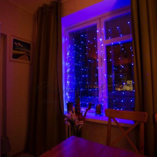 """Гирлянда """"Светодиодный Дождь""""  1,5х1,5м, свечение с динамикой, прозрачный провод, 230 В, диоды СИНИЕ 1"""