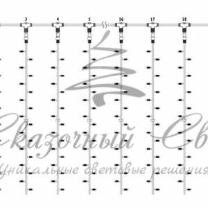 Гирлянда «Светодиодный Дождь» 2х3м, постоянное свечение, прозрачный провод, 230 В, диоды ЖЁЛТЫЕ, 448 LED