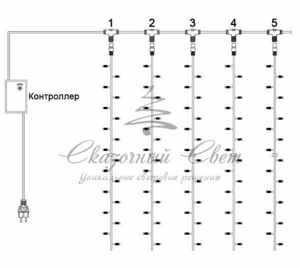 """Гирлянда """"Светодиодный Дождь"""" 2х3м, эффект водопада, прозрачный провод, 24В, диоды БЕЛЫЕ, 240 LED 1"""