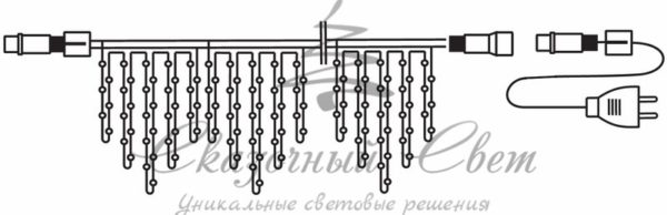 Гирлянда Айсикл (бахрома) светодиодный, 1,8 х 0,5 м, белый провод, 230 В, диоды тепло-белые, 48 LED 1
