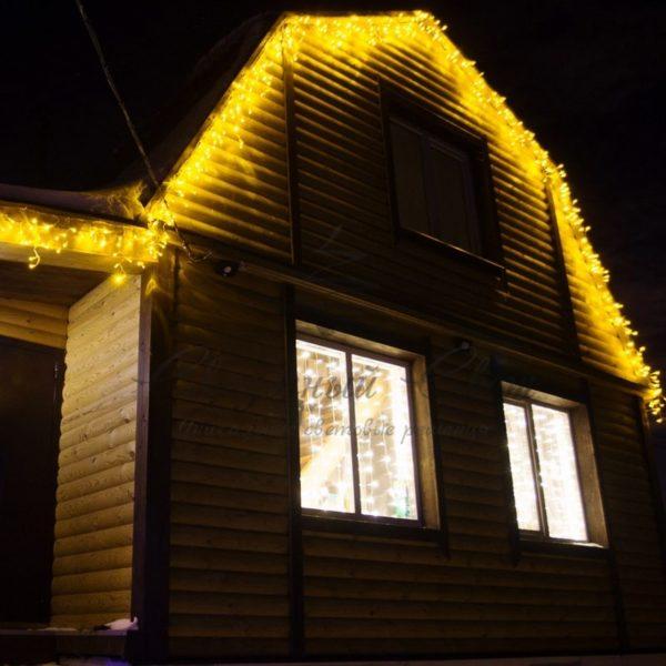 Гирлянда Айсикл (бахрома) светодиодный, 4,8 х 0,6 м, прозрачный провод, 230 В, диоды желтые,  176 LED NEON-NIGHT 1