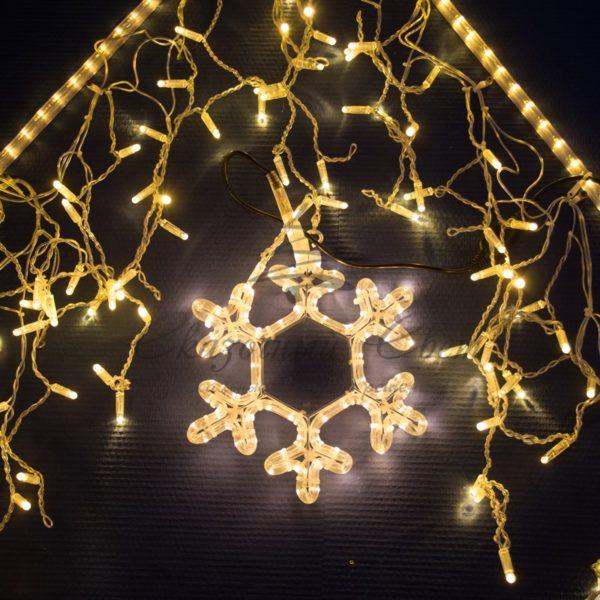 Гирлянда Айсикл светодиодный, 4,8 х 0,6 м, прозрачный провод, 230 В, цвет: Розовое золото,  176 LED 3
