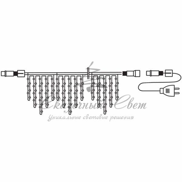 Гирлянда Айсикл (бахрома) светодиодный, 4,8 х 0,6 м, черный провод, 230 В, диоды тёпло-белые, 176 LED NEON-NIGHT 1