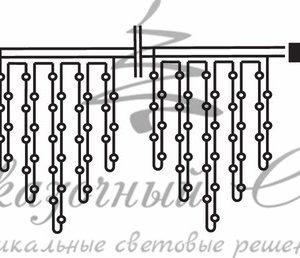 Гирлянда Айсикл (бахрома) светодиодный, 3,2 х 0,9 м, черный провод «КАУЧУК», 230 В, диоды синие, 120 LED NEON-NIGHT