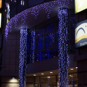 Гирлянда Айсикл (бахрома) светодиодный, 5,6 х 0,9 м, черный провод «КАУЧУК», 230 В, диоды синие, 240 LED NEON-NIGHT